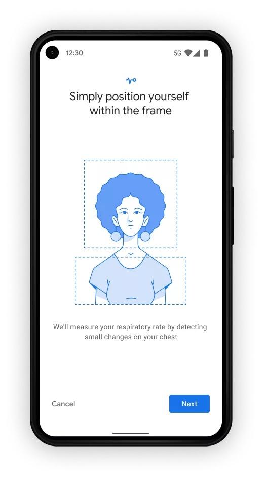 سوف توضح لك تقنية جوجل كيفية الوقوف أمام الكاميرا لقياس معدل التنفس