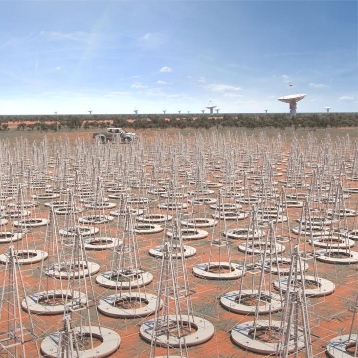 انطباع فني عن إحدى محطات المصفوفة منخفضة التردد في أستراليا