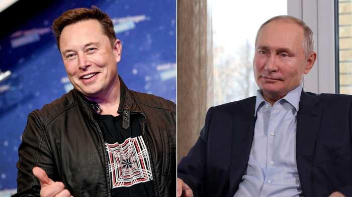 الرئيس الروسي فلاديمير بوتين ورئيس شركتي تسلا وسبيس إكس الملياردير إلون موسك