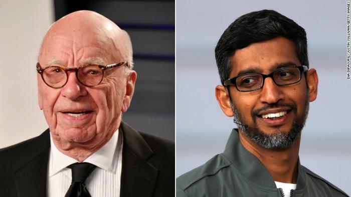 لطالما جادل روبرت مردوخ (إلى اليسار) مع قادة التكنولوجيا مثل الرئيس التنفيذي لشركة جوجل ساندار بيشاي (على اليمين) بأن المنصات يجب أن تدفع مقابل محتوى الأخبار.