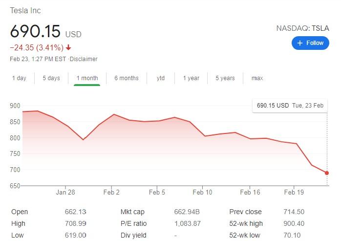 تدهور في سعر سهم شركة تسلا خلال شهر فبراير 2021