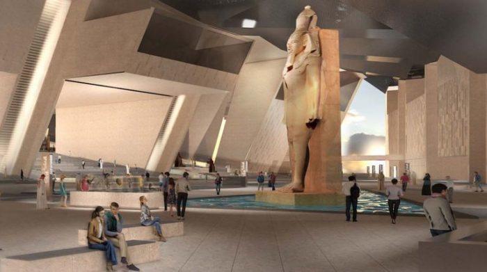 التصميم الهندسي للبهو الرئيسي في المتحف المصري الكبير