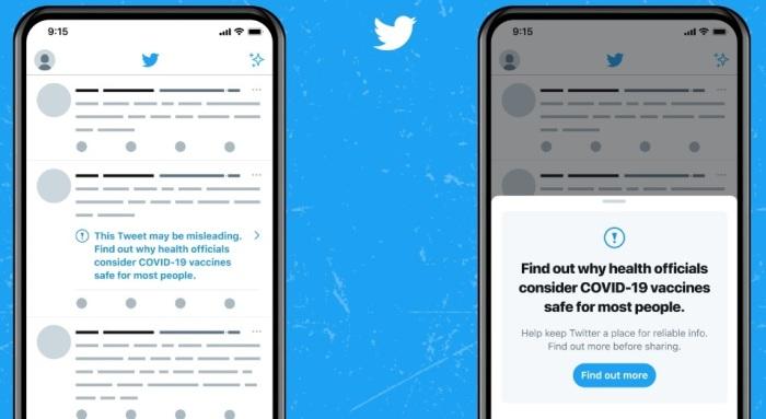 نموذج للإشارات التحذيرية التي تضعها تويتر علي التغريدات التي تحتوي علي معلومات مضللة عن فيروس كورونا ومرض كوفيد-19