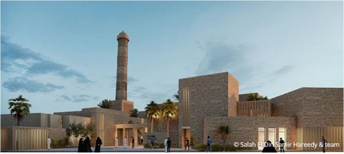 التصميم المصري الفائز بإعادة بناء مسجد النوري الكبير في مدينة الموصل العراقية في المسابقة التي أجرتها منظمة اليونسكو