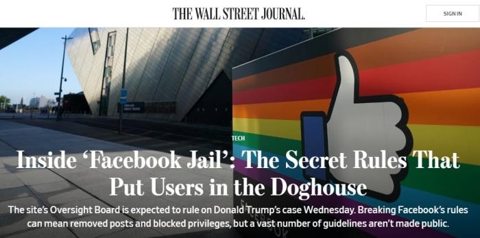 نشرت صحيفة وول ستريت جورنال يوم 4 مايو 2021 أن القواعد السرية لمراقبة المحتوي وضعت المستخدم في سجن مثل قفص الكلب
