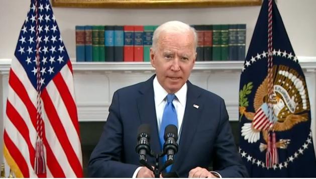 الرئيس الأمريكي جو بايدن يلقي بيان علي الشعب الأمريكي حول الهجوم الإلكتروني علي شركة أنابيب الوقود كولونيال بايبلاين