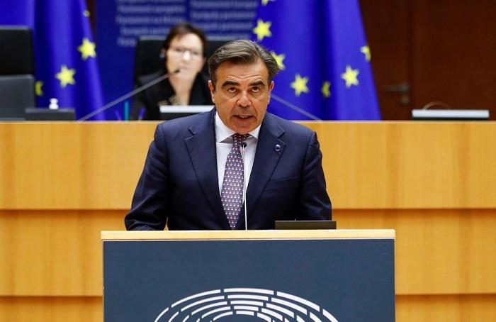 نائب رئيس مفوضية الاتحاد الأوروبي مارجريتيس شيناس يخاطب البرلمان الأوروبي في بروكسل ، بلجيكا ، 19 مايو 2021