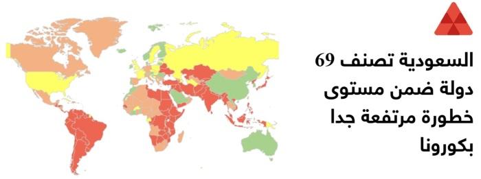 تصنيف المملكة السعودية لـ69 دولة شديدة الخطورة لمرض كوفيد-19
