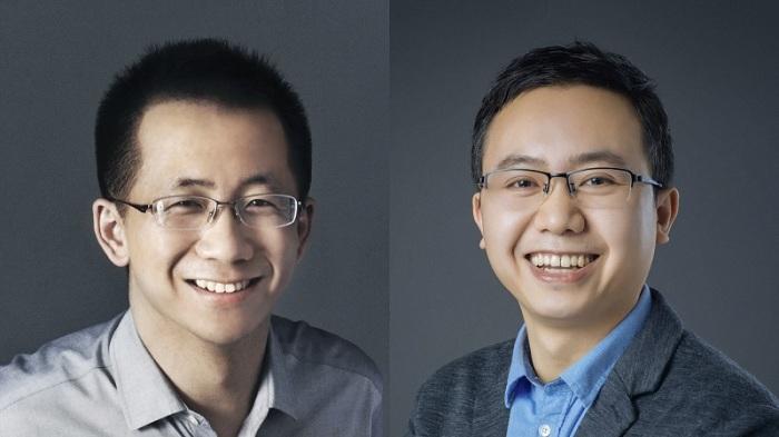 """مؤسس والرئيس السابق لشركة """"بايت دانس"""" تشانج يمنج (الي اليسار) والرئيس الجديد روبو ليانج"""