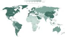 الدول باللون الأخضر الغامق هي التي أعطت لقاحات لأكثر من 60 شخص لكل 100 مواطن مثل الولايات المتحدة وكندا والصين معظم الدول الأوروبية أما اللون الفاتح فهي للدول التي أعطت اللقاح لأقل من 10 أشخاص لكل 100 مواطن مثل مصر وكل الدول الأفريقية ما عدا المغرب