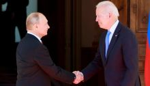 رئيس الولايات المتحدة جو بايدن في لقاء مع رئيس روسيا فلاديمير بوتين في جنيف، يونيو 2021