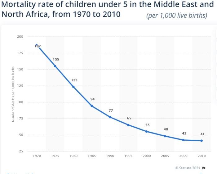 إنخفض معدل وفيات الأطفال الرضع في شمال أفريقيا والشرق الأوسط من 187 حالة لكل ألف ولادة عام 1970 الي 41 عام 2010
