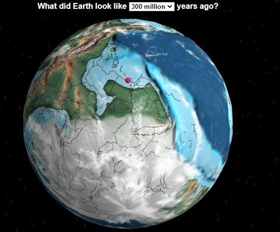 خريطة تفاعليه للأرض قبل 300 مليون عام